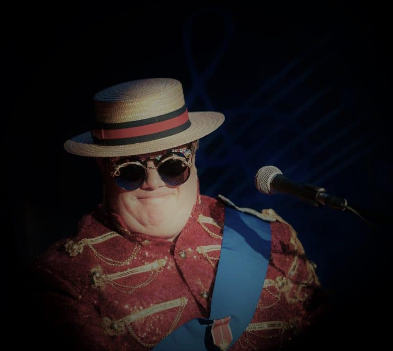 Elton John Tribute Act in Boater Hat